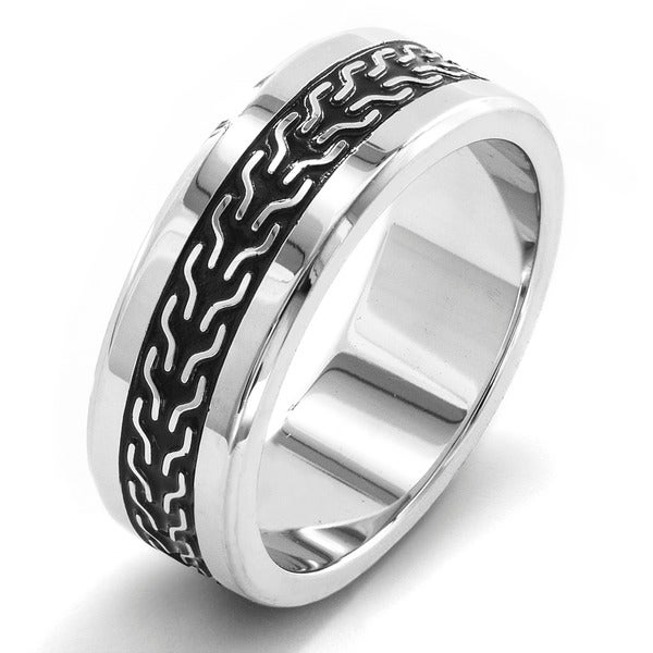 Stainless Steel Black-plated Woven Inlay Ring