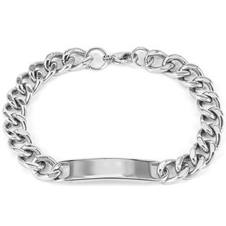 Men's Stainless Steel Polished Curb Chain ID Bracelet