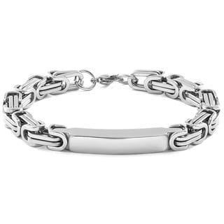 Men's Stainless Steel Byzantine Chain ID Bracelet