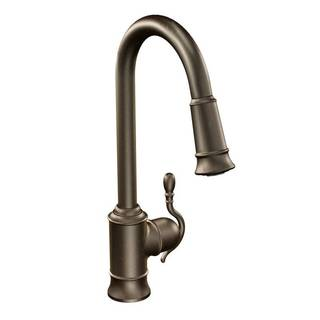 Moen Woodmere Oil Rubbed Bronze One-handle High Arc Pulldown Kitchen Faucet