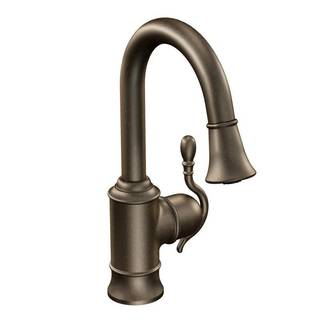 Moen Woodmere Bronze One-handle High Arc Pulldown Single-mount Bar Faucet