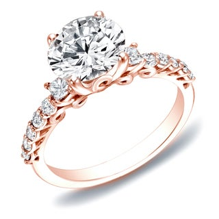 Auriya 14k Rose Gold 1 2/5ct TDW Certified Diamond Traditional Engagement Ring (H-I, SI1-SI2)