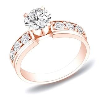 Auriya 14k Gold 1ct TDW Round Diamond Engagement Ring (H-I, SI1-SI2)