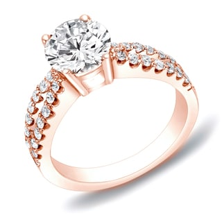 Auriya 14k Rose Gold 1ct TDW Round Diamond Engagement Ring (H-I, SI1-SI2)