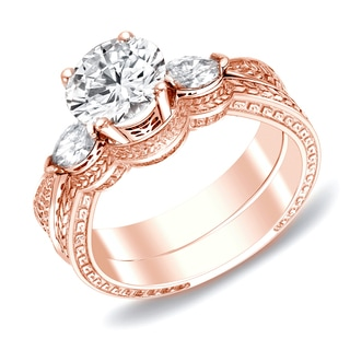 Auriya 14k Rose Gold 4/5ct TDW Diamond Bridal Ring Set (H-I, SI1-SI2)