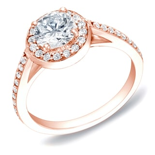 Auriya 14k Rose Gold 1ct TDW Certified Round Diamond Engagement Ring (H-I, SI1-SI2)