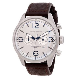 Joseph Abboud Men's Off-white and Brown Leather Chronograph Watch