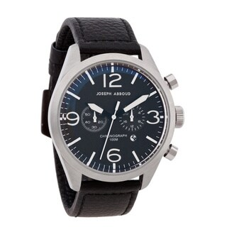 Joseph Abboud Men's Black Leather Strap Chronograph Watch