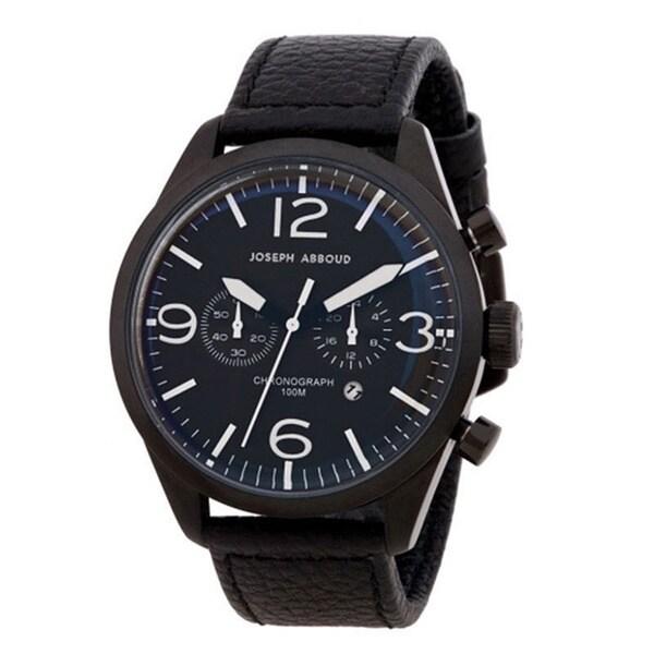 Joseph Abboud Men's Black Leather Strap Chronograph Watch