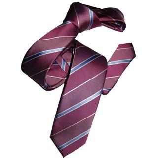Dmitry Men's Italian Pink Silk Striped Skinny Tie