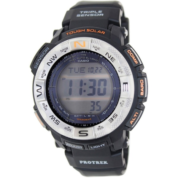 Casio Men's Protrek PRG260-1 Black Rubber Quartz Watch with Digital Dial