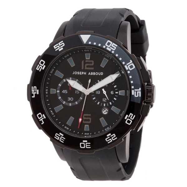 Joseph Abboud Men's Rotating Bezel Rubber-strap Watch