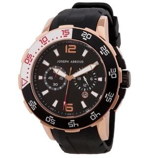 Joseph Abboud Men's Rose Goldtone Rotating Bezel Rubber-strap Watch