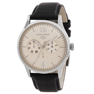 Joseph Abboud Men's Stainless Steel and Black Leather Multifunction Watch
