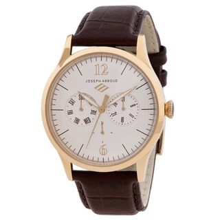 Joseph Abboud Men's Goldtone and Brown Leather Multifunction Watch