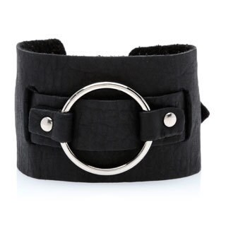 Kele & Co. Black Leather Buckle Adjustable Bracelet