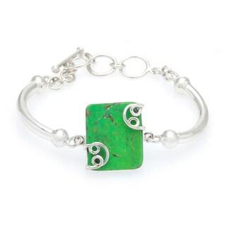 Kele & Co. Sterling Silver Green Turquoise Gemstone Bracelet