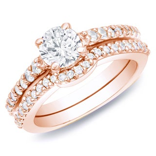 Auriya 14k Rose Gold 1ct TDW Certified Diamond Bridal Ring Set (H-I, SI1-SI2)