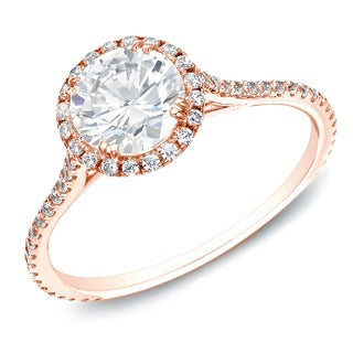 Auriya 14k Gold 1 1/2ct TDW Certified Round Diamond Halo Engagement Ring (H-I, SI1-SI2)