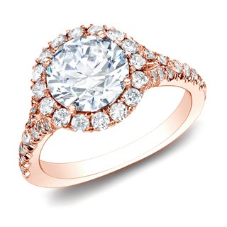 Auriya 14k Rose Gold 1 1/2ct TDW Certified Diamond Halo Engagement Ring (H-I, SI1-SI2)