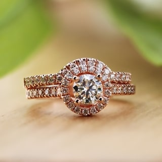 Auriya 14k Rose Gold 1ct TDW Diamond Bridal Ring Set (H-I, SI1-SI2)