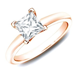 Auriya 14k Rose Gold 1ct TDW Certified Princess Diamond Solitaire Ring (H-I, SI1-SI2)