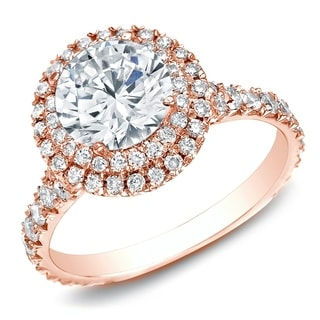 Auriya 14k Rose Gold 2ct TDW Certified Halo Split-shank Round Diamond Engagament Ring (H-I, SI1-SI2)