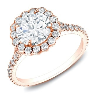Auriya 14k Rose Gold 1 1/2ct TDW Certified Round Halo Diamond Engagement Ring (H-I, SI1-SI2)