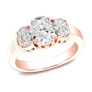 Auriya 14k Rose Gold 2 1/3ct TDW Certified Three Stone Diamond Ring (I-J, VS1-VS2)