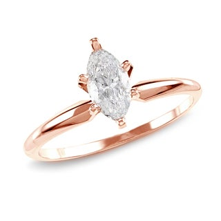 Auriya 14k Rose Gold 1ct TDW Marquise 6-prong Diamond Ring (H-I, SI1-SI2)