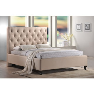 LuXeo Roxbury Tufted Sand Upholstered Platform Bed