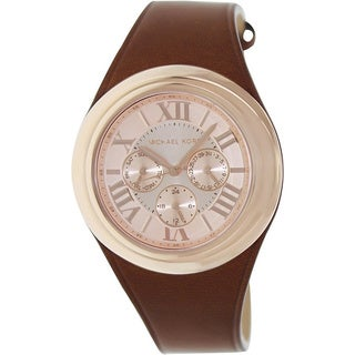 Michael Kors MK2313 Camille Brown Leather Quartz Watch with Rose-Gold Dial