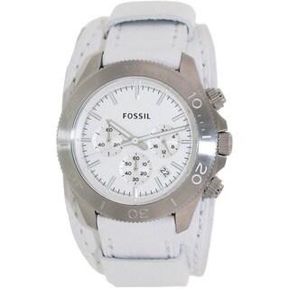 Fossil Men's CH2858 Retro Traveler White Leather Quartz Watch