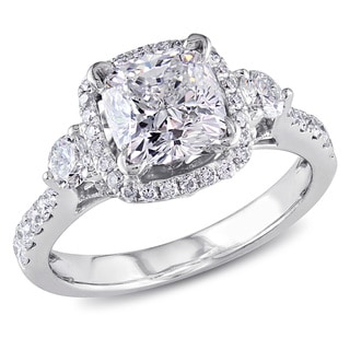 Miadora 18k White Gold 2 1/5ct TDW Cushion-cut Diamond Ring (H-I, VS1-VS2)