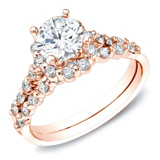 Auriya 14k Rose Gold 1.50ct TDW Certified Diamond Bridal Set Ring (H-I, SI1-SI2)