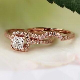 Auriya 14k Gold 1 1/5ct TDW Princess Diamond Bridal Set Ring (I-J, I1-I2)