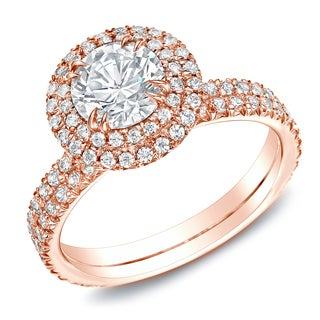 Auriya 14k Rose Gold 1.75ct TDW Certified Diamond Halo Engagement Ring (H-I, SI1-SI2)