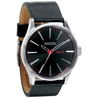 Nixon Men's A105000 Sentry Black Leather Analog Quartz Watch with Black Dial