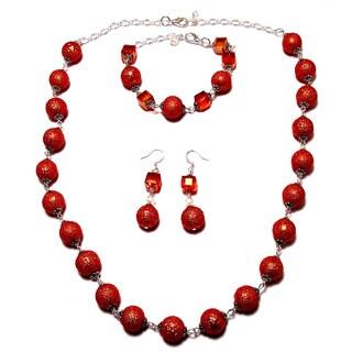 Moonscape Orange Glass Pearl Wedding Jewelry Set