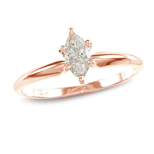 Auriya 14k Rose Gold 2/5ct TDW Marquise Diamond Solitaire Engagement Ring (I-J, I1)