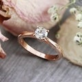 Auriya 14k Rose Gold 1/2ct TDW Round Diamond Solitaire Engagement Ring (K-L, I2-I3)