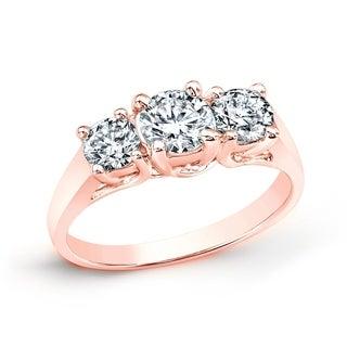 Auriya 14k Gold 1ct TDW Round Diamond 3-stone Engagement Ring (J-K, I2-I3)