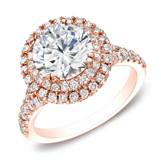 Auriya 14k Rose Gold 1 5/8ct TDW Certified Round Diamond Double Halo Engagement Ring