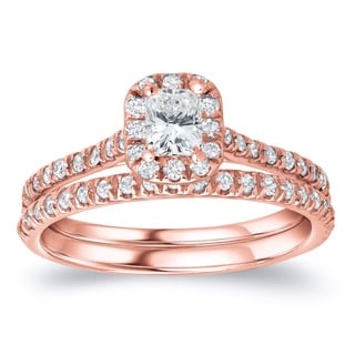 Auriya 14k Rose Gold 1ct TDW Radiant Diamond Halo Bridal Ring Set (H-I, SI1-SI2)