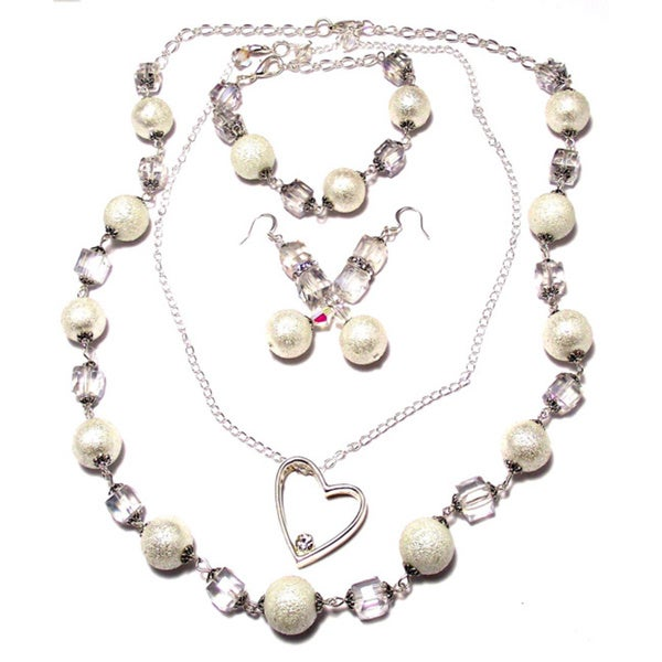 White Moonscape Crystal Pearl and Clear Cube Crystal 4-piece Wedding Jewelry Set