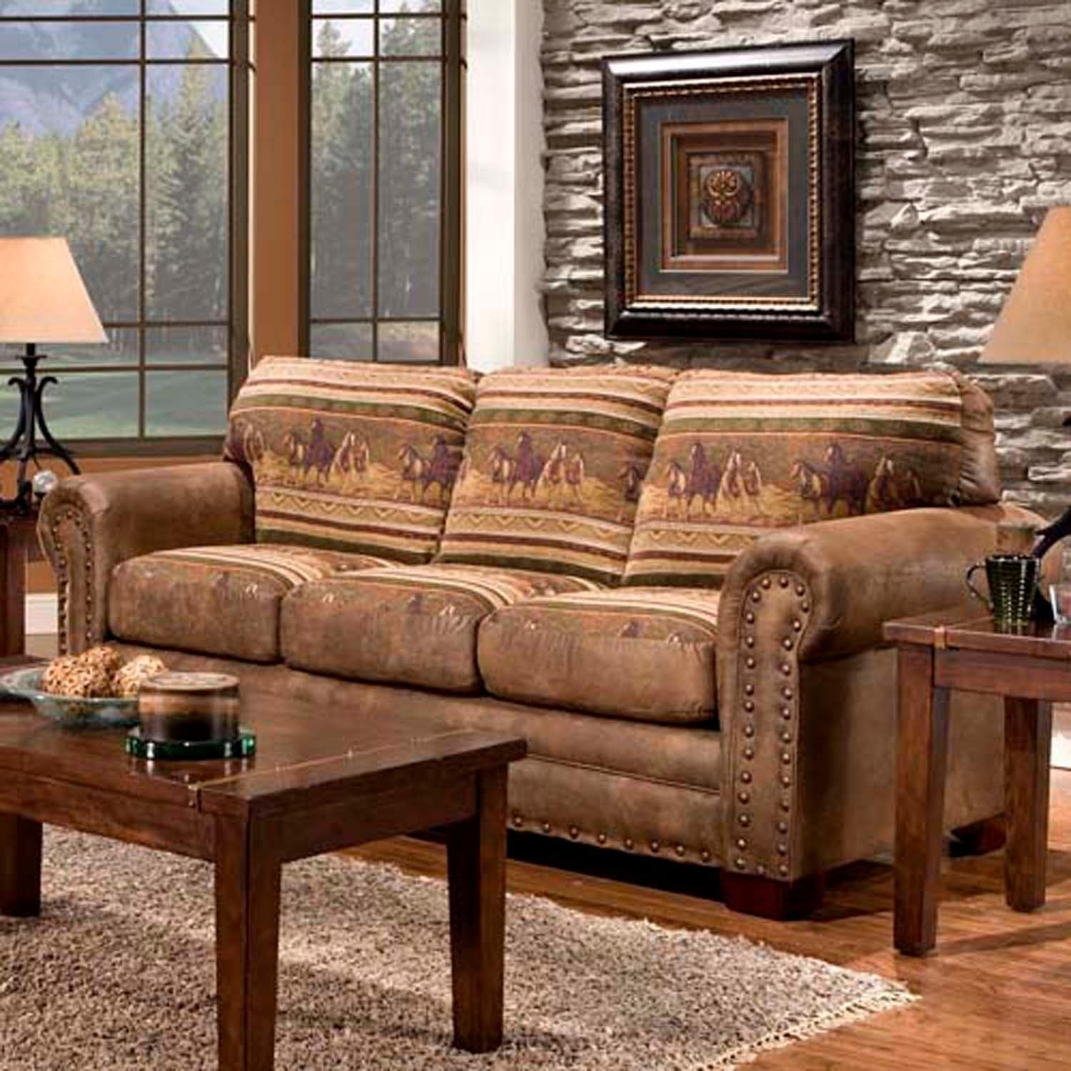 wild horses sofa couch cabin western style lodge rustic faux leather seat plush ebay. Black Bedroom Furniture Sets. Home Design Ideas