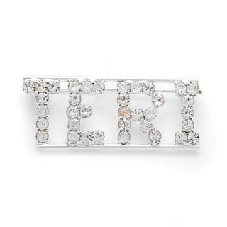 Silverplated White Crystal Teri Name Pin