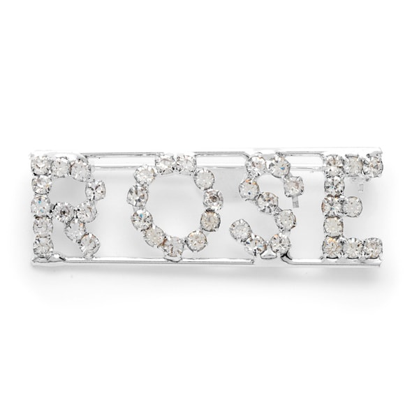 Detti Originals Silverplated 'ROSE' Crystal Name Plate