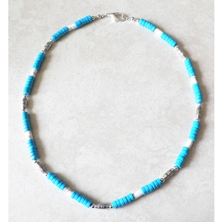 Palmtree Gems Men's 'Maui' Chalk Turquoise and Howlite Necklace