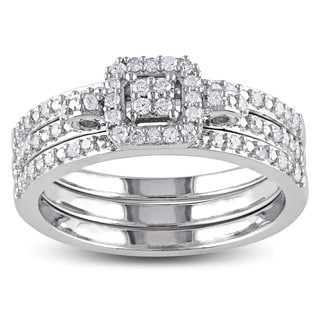 Miadora Sterling Silver 1/3ct TDW Diamond Bridal Ring Set (H-I, I2-I3)